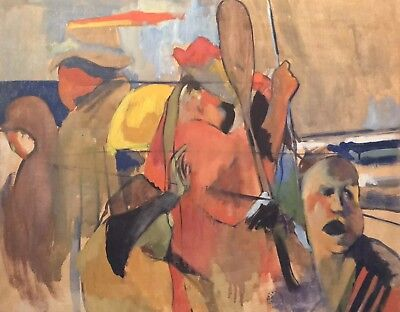 Large Mid 20Th Century French Abstract Expressionist Oil - Figurative Study