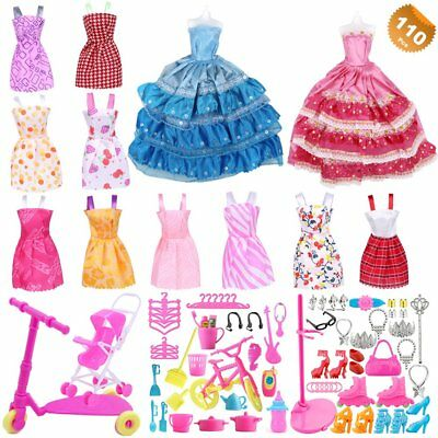 110Pcs Barbie Doll Clothes Accessories Huge Lot Party Gown Outfits Girl Gift Set