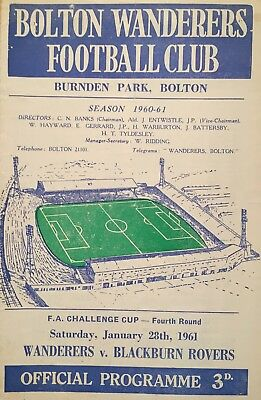 Bolton Wanderers v Blackburn Rovers  F A Cup  1960/61  Programme + ticket