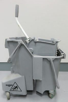 Professional Industrial Unger Grey Dual Mop Bucket 15L Wringer and Pole Cleaning