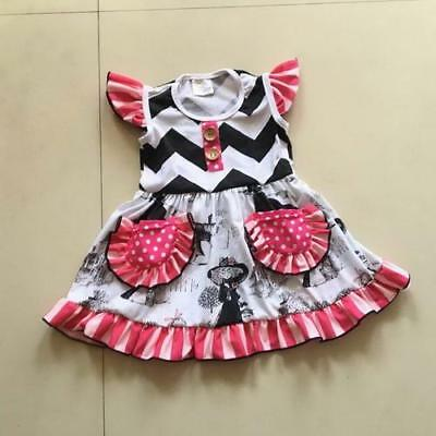W-1004 Boutique Pink/Black/White Dress (Ready to Ship From Ohio) Free Shipping