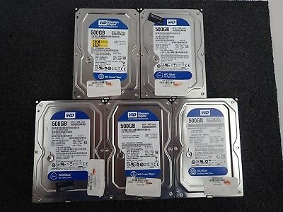 "LOT OF 5 WD500AAKX 500GB 7200 RPM 16MB cache SATA 6.0Gb/s 3.5"" Hard Drive**"