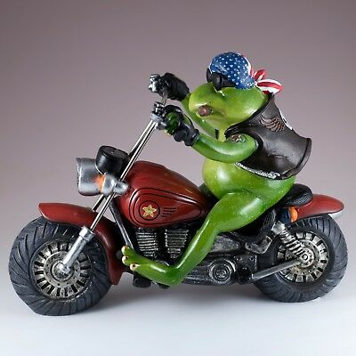 """Biker Frog With Cigar Riding Motorcycle Figurine Statue 9.75"""" Long Resin New!"""