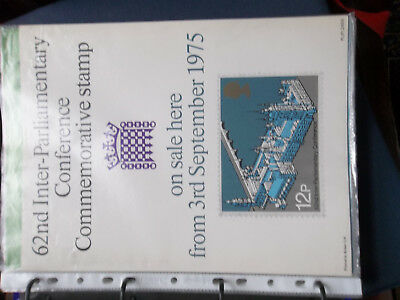 Royal Mail A4 Post Office Poster 1975 62Nd Inter Parliamentary Conference