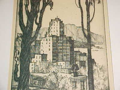 Harriet Roudebush Etching Russian Hill San Francisco California Arts Crafts Deco