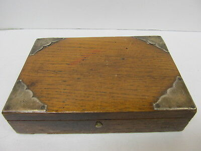 F Brasted London Victorian Sterling Silver Corners Wooden Box Fair Cond