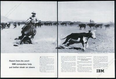 1964 IBM computer cowboy horse roping cattle photo vintage print ad