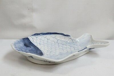 Japanese Imari Blue White Porcelain Flowers Scales Fish Plate