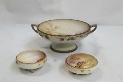 Art Deco Nippon Noritake 2 Handled Beaded Porcelain 3pc Nut Dish Set