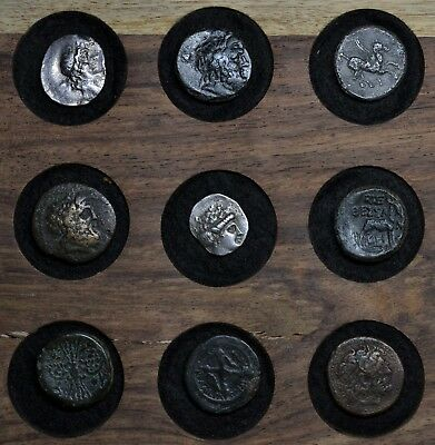 Amazing Collection Of 9 Ancient Greek Silver & Bronze Coins + Rare Types!