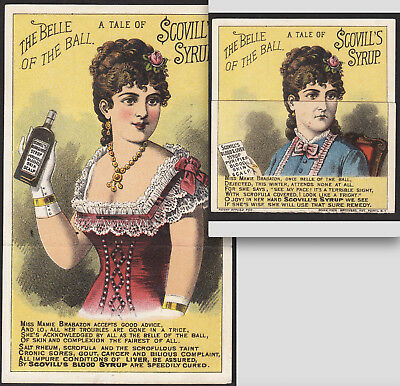 Cancer Syphilis Blood Cure c. 1880 Scovills Syrup Metamorphic Novelty Trade Card