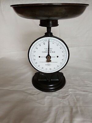 Antique Family Scale Kitchen Cast Iron 20 Kg Scale Salter's Scarce Enamel Model