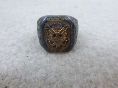 Nice Ww 2 Us Army Officer's Silver Ring With American Service  Eagle