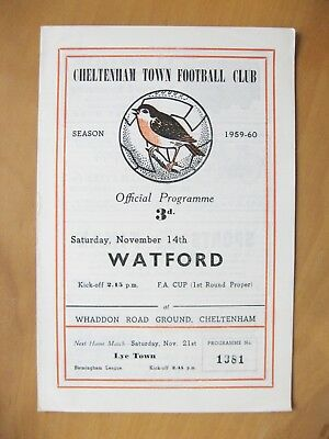 CHELTENHAM v WATFORD FA Cup 1959/1960 *Excellent Condition Football Programme*