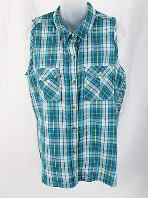 1229f739298 Tolani Teal Green Multi Color Plaid Paisley Button Down Sleeveless Shirt Top  M