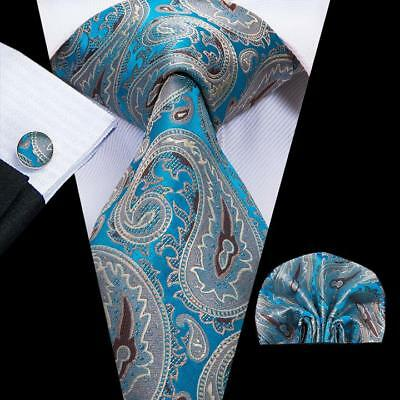 Men's Tie Set Silk Blue Gary Paisley NeckTie Hankerchief Cufflinks Gift Party