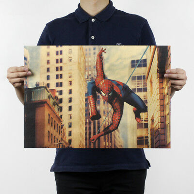 Retro Wall Antique Bar Decor Spider-Man H775 Paper Nostalgic Kraft Playbill Room