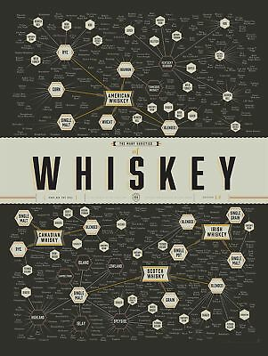 """Pop Chart Lab """"The Many Varieties of Whiskey Poster Print 18"""" x 24"""" Multicolored"""