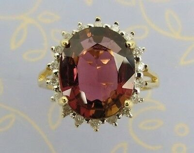 4 cwt mauve purple Tourmaline .36 cwt diamond 14k yellow gold ring size 7.25
