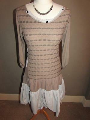 JOE BROWNS Ladies Taupe Mink Stretchy Jersey Dress Striped Ruched Hem Size 12