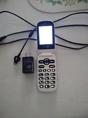 DORO PHONEEASY 626 (Consumer Cellular) Red Flip Phone, Easy to Use Large  Buttons