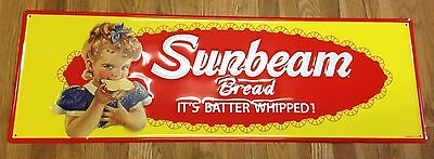 Sunbeam Bread Bright Red Yellow It's Batter Whipped High Embossed Metal Adv Sign