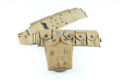 Original WWI Ammo Cartridge Belt, Canteen, & Cover Infantry Gear 1918 (Pre-WWII)