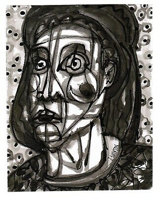 BELIEVER original abstract/folk/outsider? ink painting/drawing Swinton Canadian