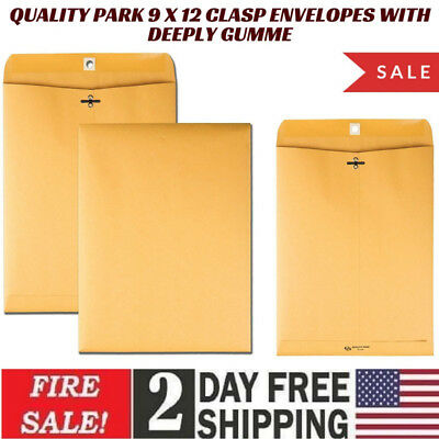 Quality Park 9 x 12 Clasp Envelopes with Deeply Gummed Flaps, Great for Filing