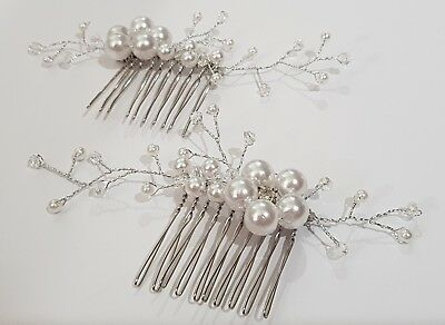 2 x Wedding Hair comb - Silver, Pearls, Crystals. Unused. FREE POSTAGE!!