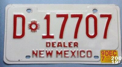 1997 New Mexico Dealer Embossed License Plate  #  D  17707