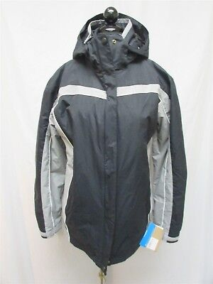 Columbia Womens Black/Grey Nylon L/S Zip Up Mid Length Hoody Parka Coat SZ L NWT