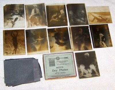 Antique Seed''s Dry Plate adult image plates and box 1900s French Postcards RARE