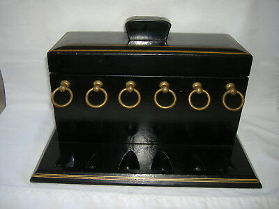 Vintage Black Cowhide Leather And Gold Trim Smoking Pipe Humidor And Pipe Rack