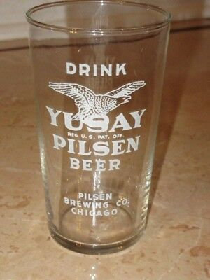 Vintage Yusay Pilsen Beer Glass A.c.l. Chicago Illinois Ornate