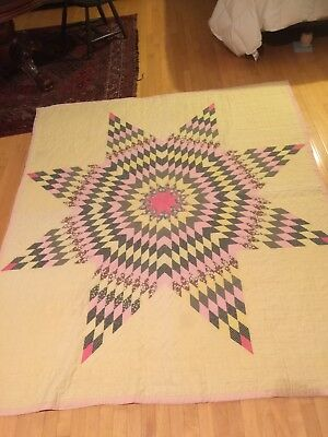 """Antique Vintage 72"""" x 84"""" Hand Stitched LONE STAR Quilt - Fits Full Size Bed"""