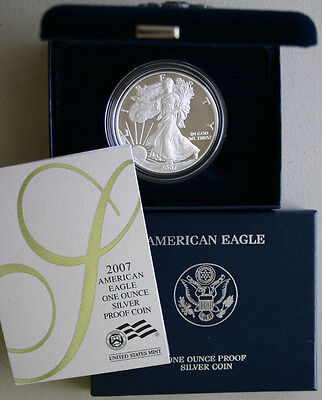 2007 AMERICAN SILVER EAGLE PROOF DOLLAR US Mint ASE Coin with Box and COA