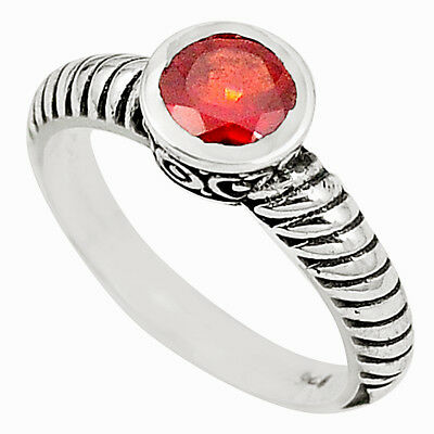 Natural Red Garnet 925 Sterling Silver Ring Jewelry Size 7 M33304