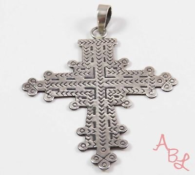 Sterling Silver Vintage 925 Religious Cross Large Pendant (3.8g) - 745542