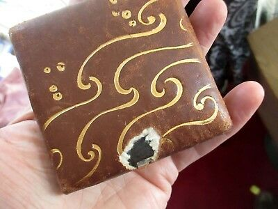 "Antique Art Deco Leather 3 1/2"" Ladies Mercury Mirror Compact -"