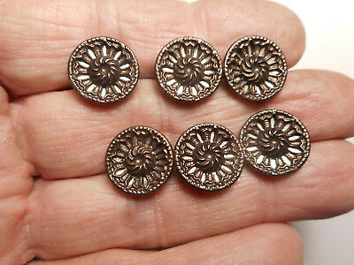 """6 Matching Original Tint Twinkle Brass Victorian Antique Buttons 9/16"""" RS"""