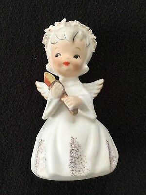 "SWEET Vintage Inarco WHITE Angel   E-1695 Holding Candle 4"" CHRISTMAS"