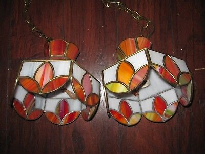 Vintage Pair of  2 Stained Glass Pendant Ceiling Lights   REDS / NICE
