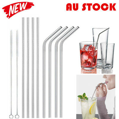 8Pcs Stainless Steel Metal Drinking Straw Reusable Straws w/ 2 Cleaner Brush AY