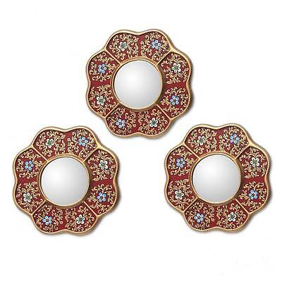 Glass Mirrors Painted Floral Set of 3 Red Handmade 'New Spring' NOVICA Peru