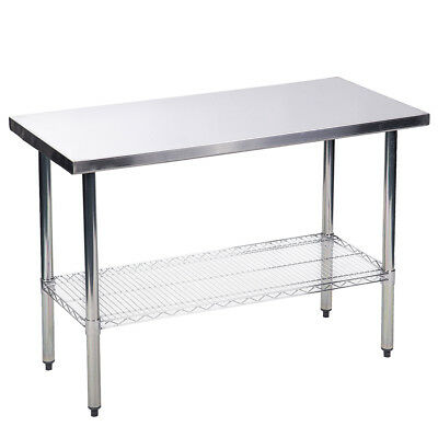 "24"" x48"" Stainless Steel Kitchen Work Table  w/ Wire Lower Shelf Commercial  56R"