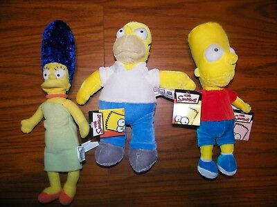"The Simpsons Plush Dolls Homer Marge Bart 20th Century Fox 2005 10"" – 13"" NWT"