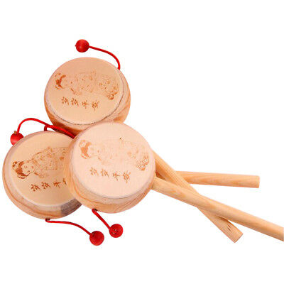 Baby Kid Wooden Musical Hand Bell Shaking Rattle Drum Chinese old Wooden Drums