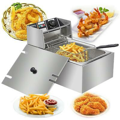 2500W 6L 6.3QT Electric Deep Fryer Commercial Tabletop Restaurant Fry Basket