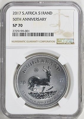 2017 South Africa 1 oz. Silver Krugerrand NGC SP70 with COA & Mint Bag